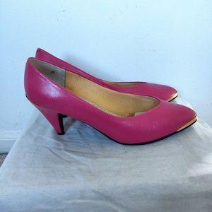 Vintage Magenta Pink & Gold Vanna White Pumps 8.5